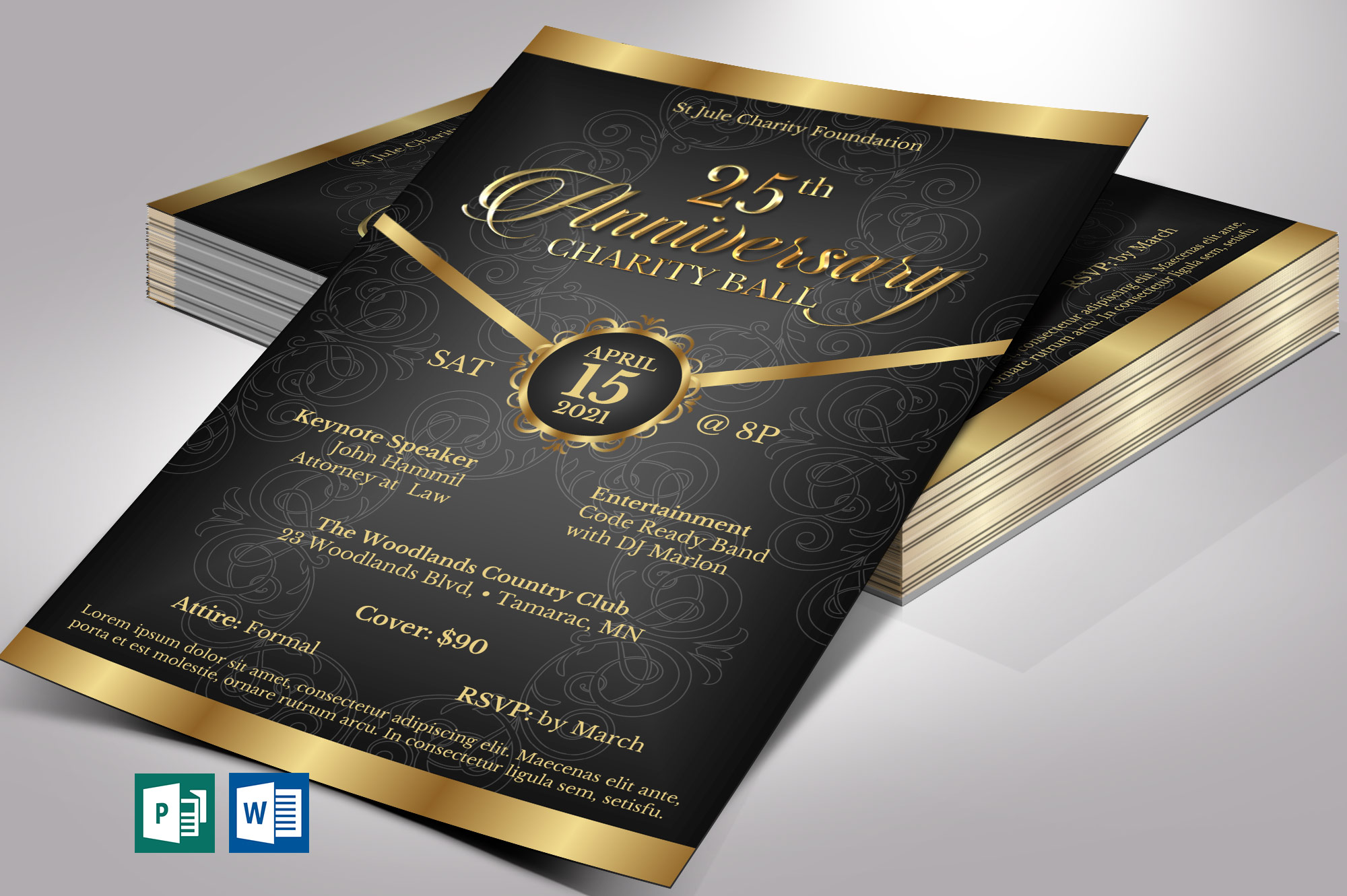 Black Gold Anniversary Gala Flyer Word Publisher Template