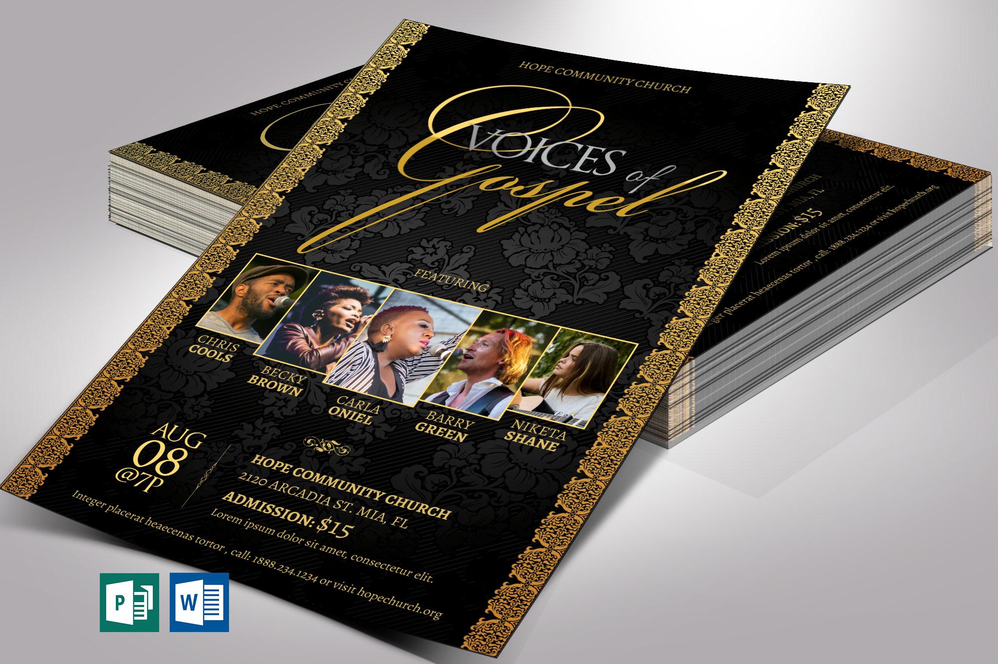 Gospel Concert Flyer Word Publisher Template