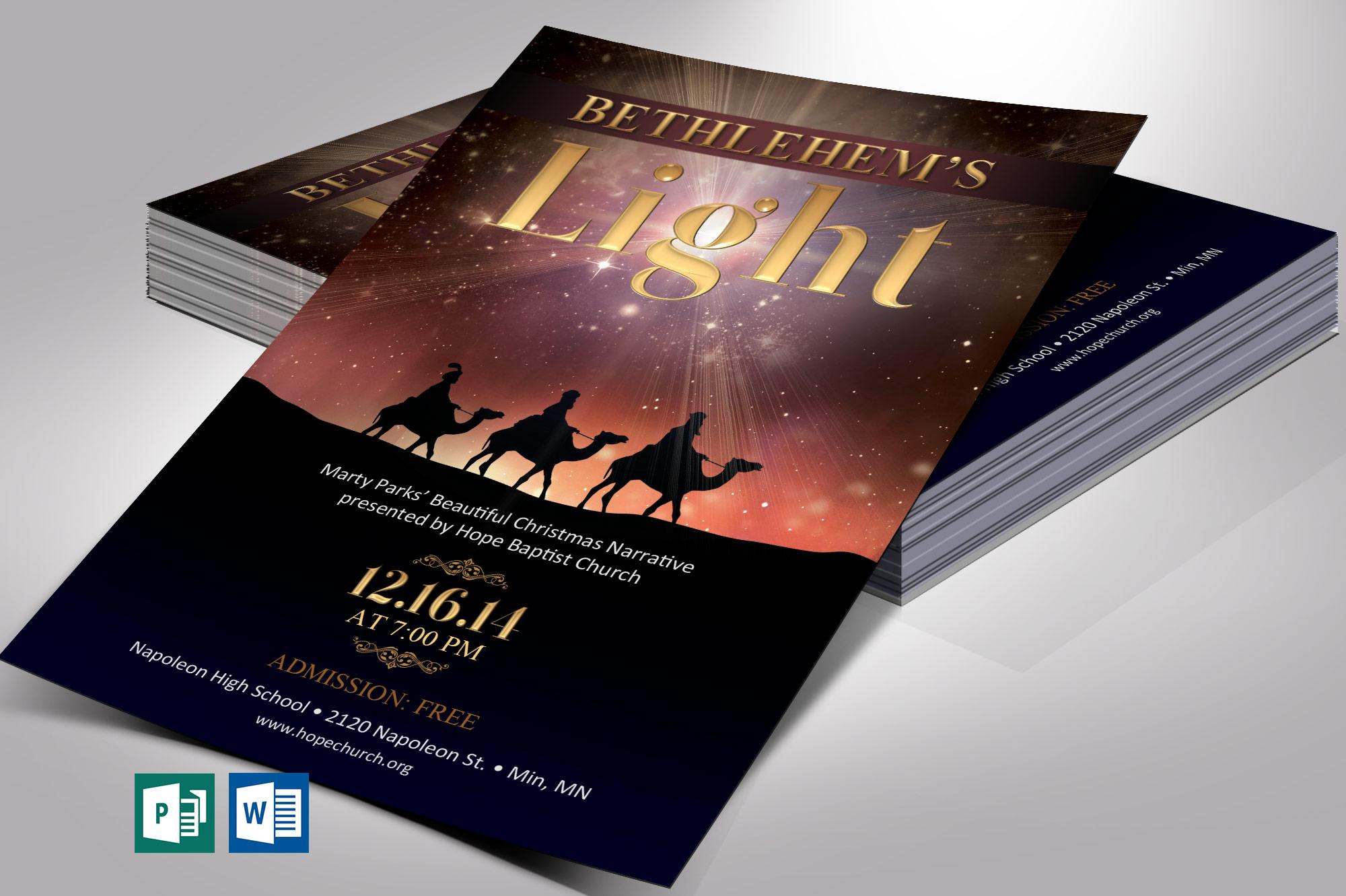 Bethlehem's Light Flyer Word Publisher Template