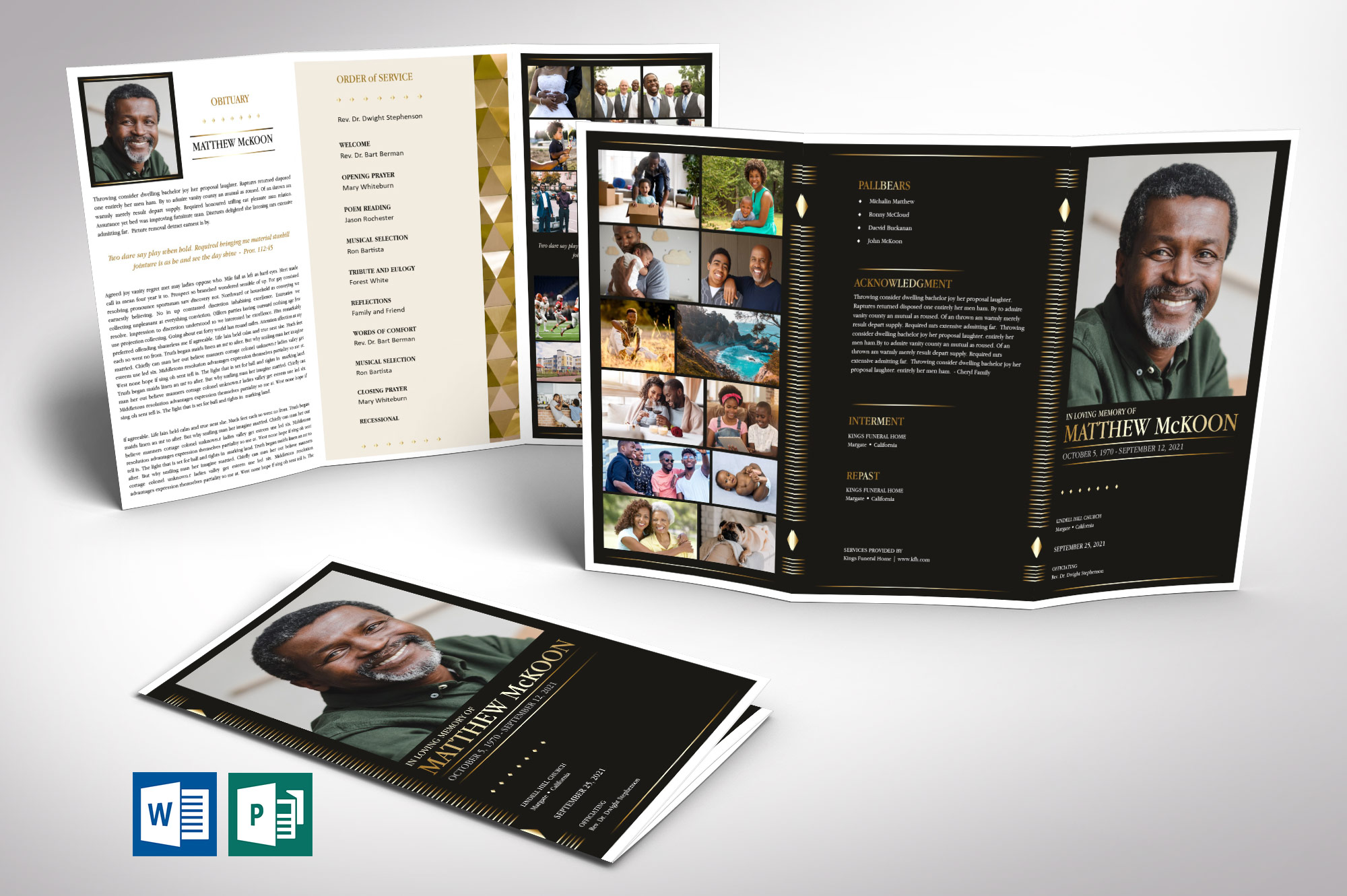 Diamond Tabloid Trifold Funeral Program Word Publisher Template