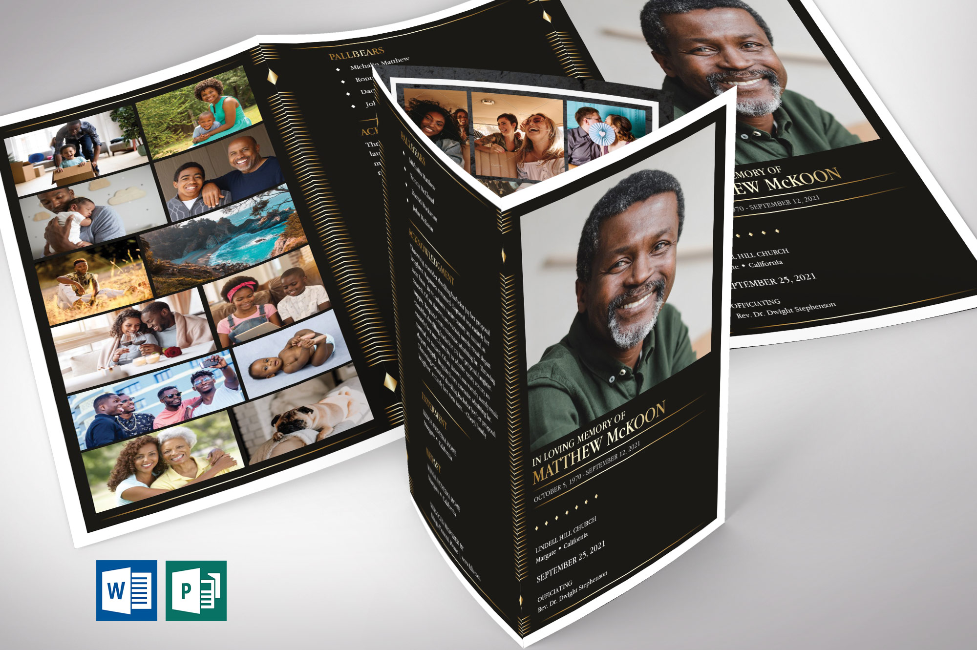 Diamond Legal Trifold Funeral Program Word Publisher Template