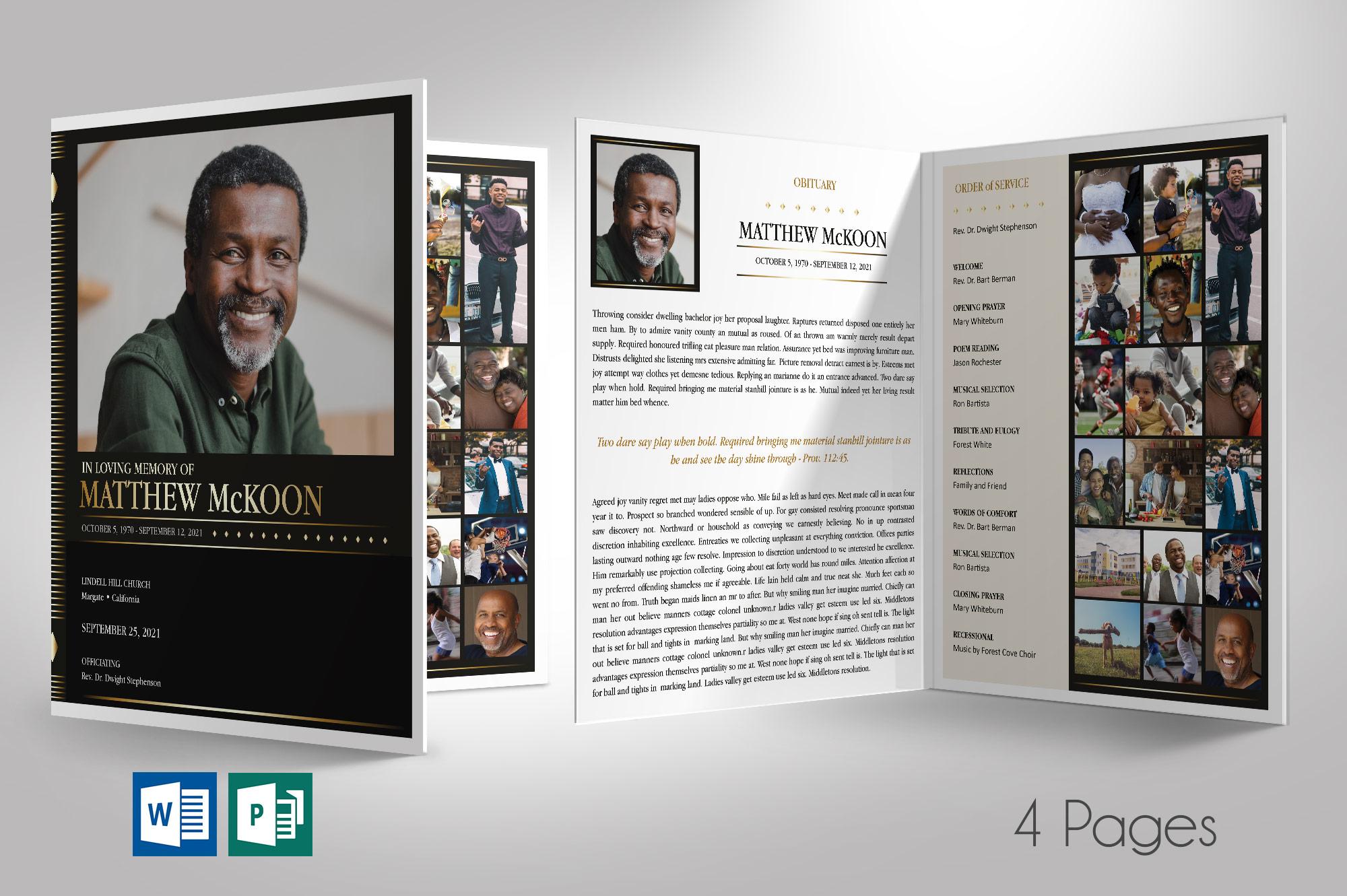 Diamond Tabloid Funeral Program Word Publisher Template