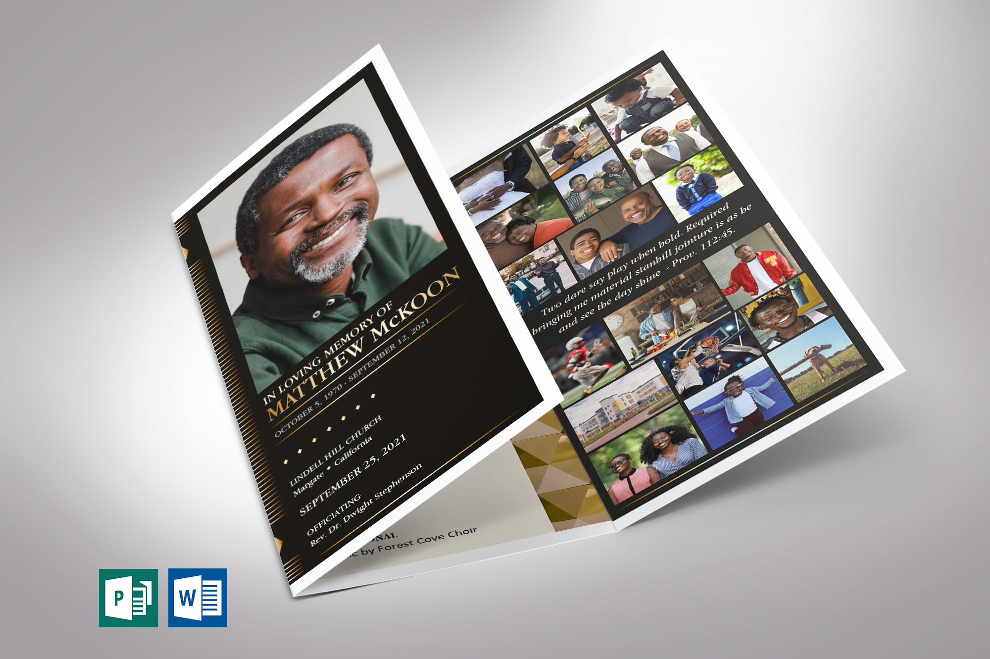 Diamond Trifold Funeral Program Word Publisher Template