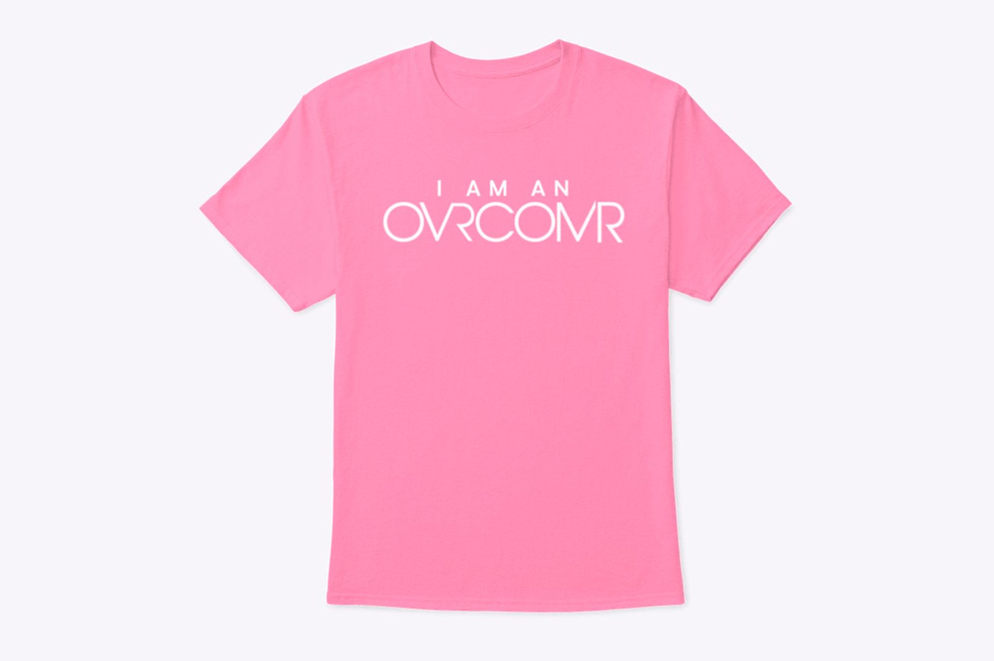 I Am An Overcomer Pink tee